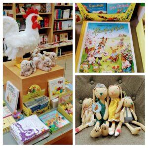 Bücher und Plüschtiere zu Ostern
