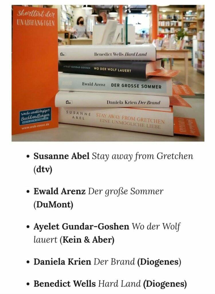 Shortlist der Unabhängigen Buchhandlungen